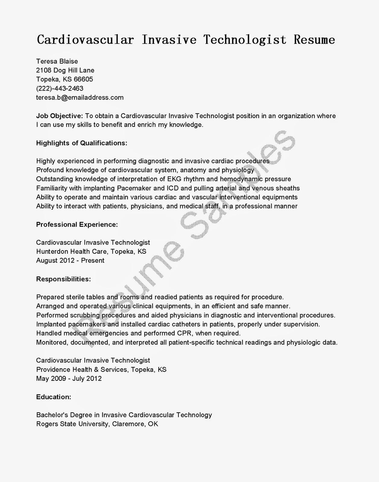 Resume Samples Cardiovascular Invasive Technologist