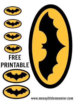 FREE batman logo printable for superhero crafts for kids.  Batplane, Batcave, Batmobile activities.