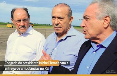 Chegada do presidente Michel Temer para a entrega de ambulâncias no RS