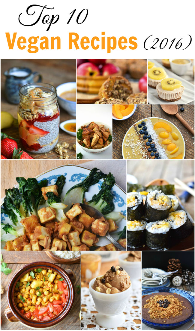 Top 10 Vegan Recipes of 2016 from womaninreallife.com. Simple recipes that are relatively quick to prepare.