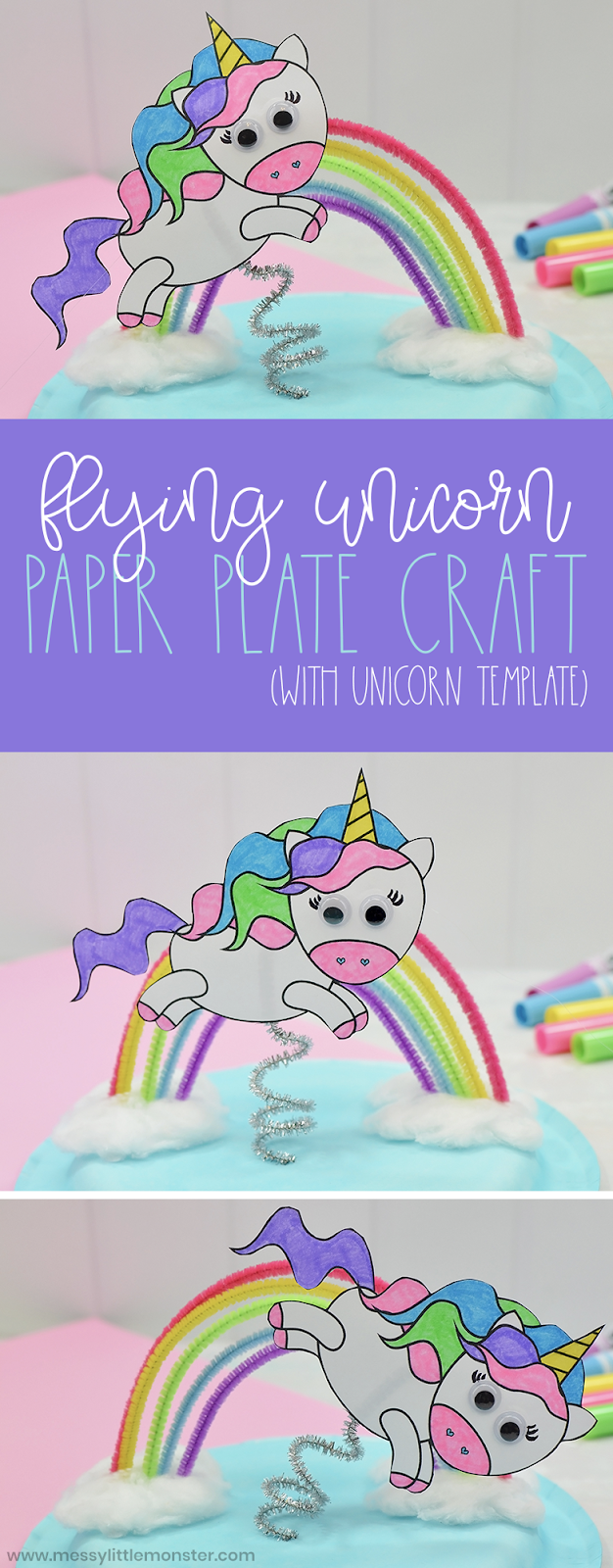 Flying unicorn paper plate craft - printable unicorn template included. Unicorn craft for preschoolers.