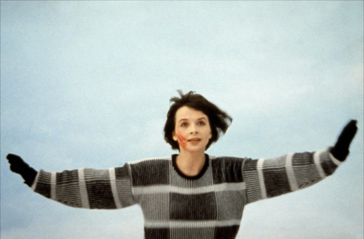 Still from film Mauvais Sang, of actress Juliette Binoche floating in air