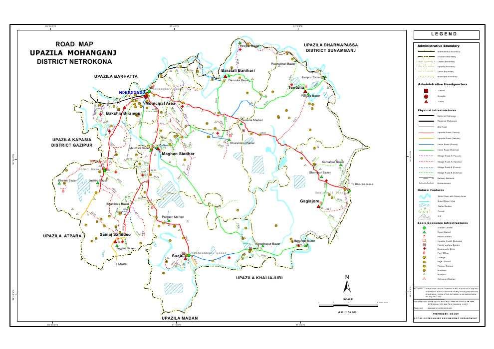 Mohanganj Upazila Road Map Netrokona District Bangladesh