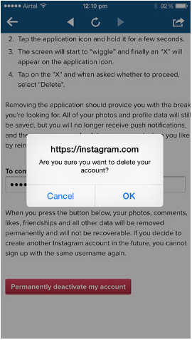 how to delete old instagram account