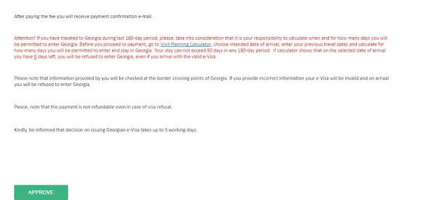 cara pengurusan e-visa georgia