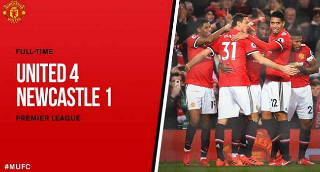 cuplikan gol newcastle vs manchester uniited 1-4
