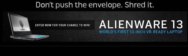 Alienware ARENA is celebrating their Alienware 13: World's First 13-inch VR-Ready Laptop by giving fans the chance to enter to win an Alienware 13 laptop worth nearly $1900!