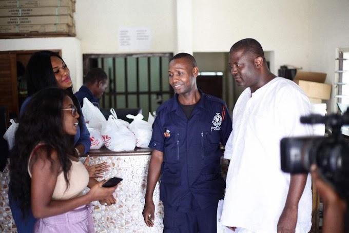 Nana Aba Anamoah and Sandra Ankobiah fete Policemen on Christmas