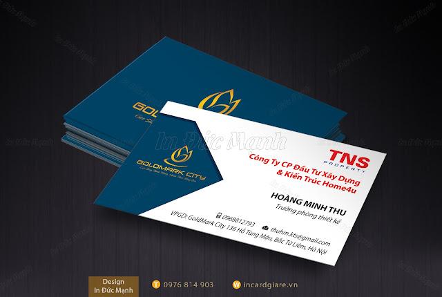 Mẫu card visit công ty cổ phần đầu tư Xây Dựng & Kiến Trúc Home4u