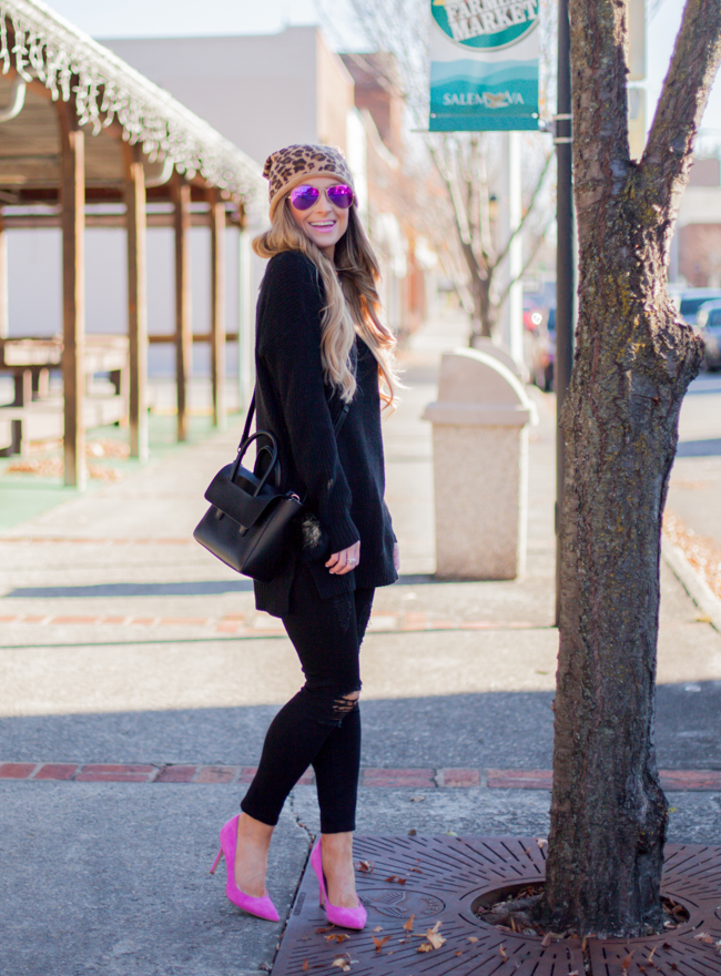 nordstrom leopard beanie with black sweater sam edelman pink pumps