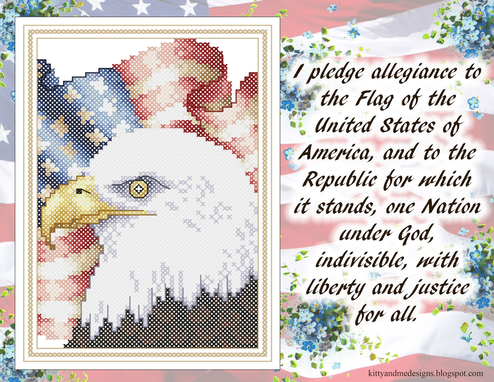 Kitty And Me Designs Free Patriotic Cross Stitch Pattern