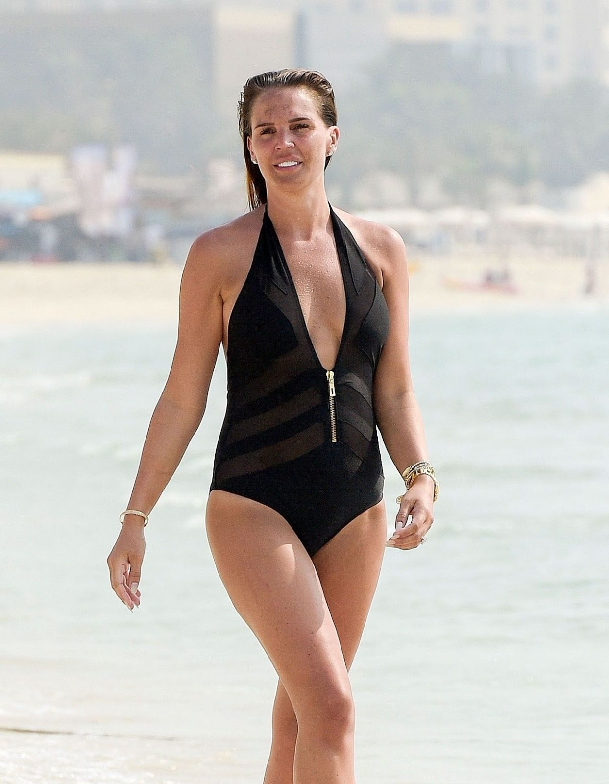 Danielle Lloyd Candids In A Black Swimsuit On The Beach Dubai