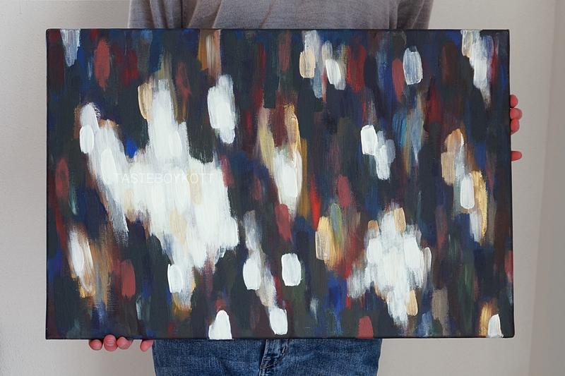 Abstraktes Bild mit hellen und dunklen Farbflächen und in Blau, Rot, Gelb, Bunt auf Leinwand