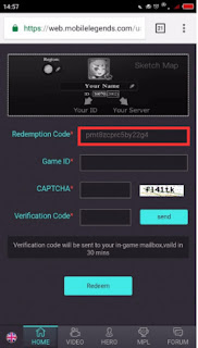 cara redeem code voucher mobile legends
