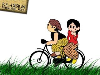 Gambar Kartun Lucu Berpasangan Naik Sepeda
