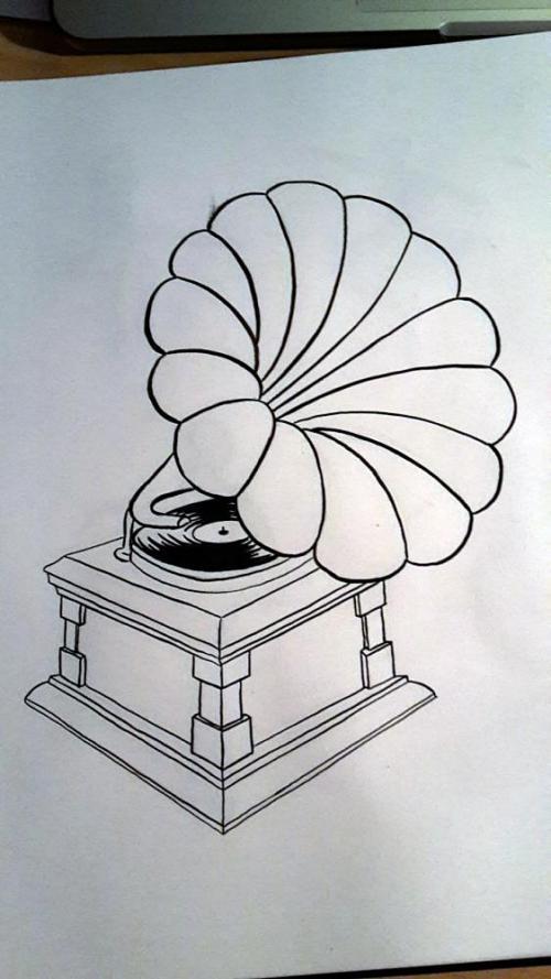 Grammophon | Inktober | www.zeitunschaerfe.de