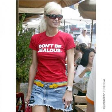 Paris Hilton 'DON'T BE JEALOUS' red t shirt.