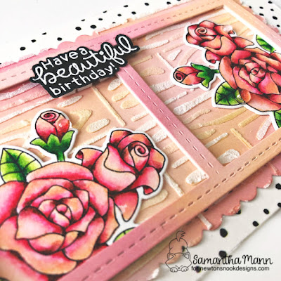 Have a Beautiful Day Card by Samantha Mann for Newton's Nook Designs, Cards, handmade Cards, Stencil, Embossing Paste, Slimline, roses #newtonsnook #roses #slimline #distressinks #oxideinks #cards