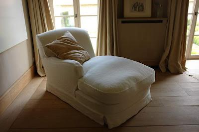 Garnier bedroom, custom chaise lounge available via Garnier Interiors (95 cm x 160 cm x 90 cm), Garnier (be) as seen on linenandlavender.net