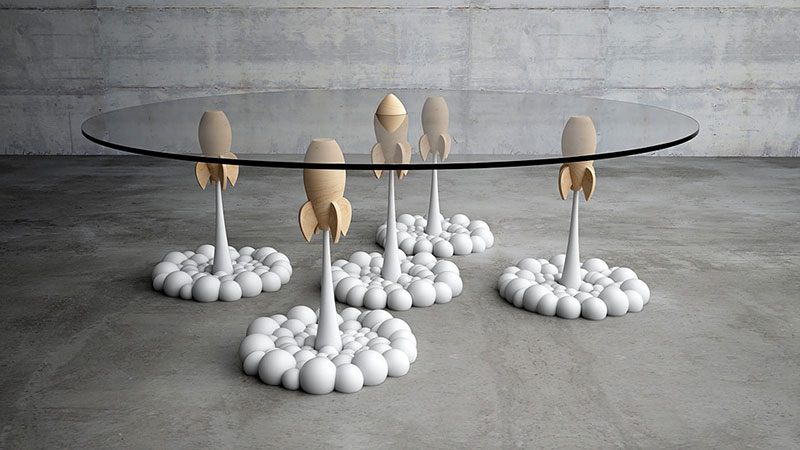 The Rocket Coffee Table By Cyprus Based Stelios Mousarris Was Inspired By  His Personal Toy Collection And Has Cartoon Like Objectsu2014aerial Rockets  With ...