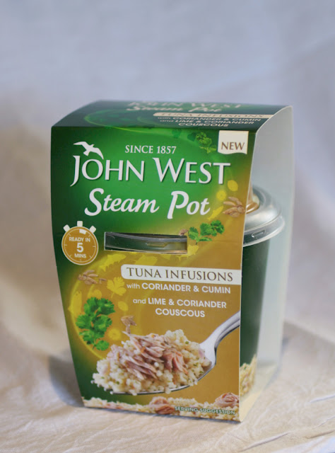 John West Steam Pots - infused tuna and cous cous - just add water to the cous cous, stir in the tuna and you have a quick, easy and filling lunch!