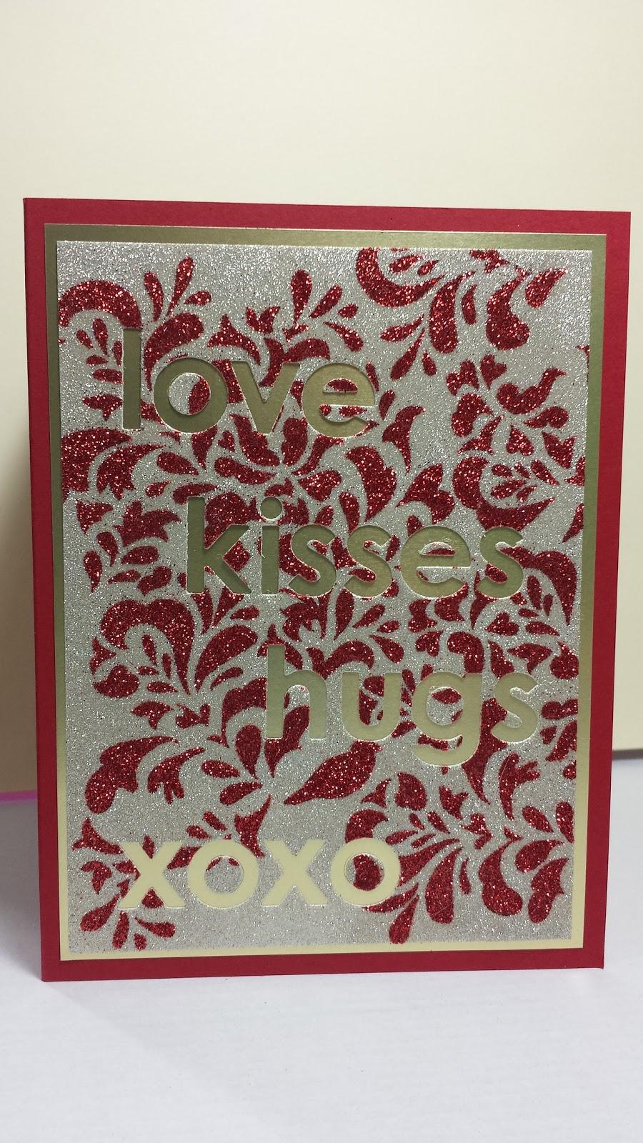 glitter background, Valentine's card, stencil