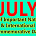 JULY 2018 - List of Important National and International Commemorative Days (July Month)