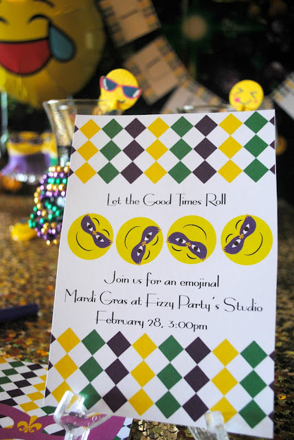 Emojinal Mardi Gras printable created for Fizzy Party by Bella Grey Designs