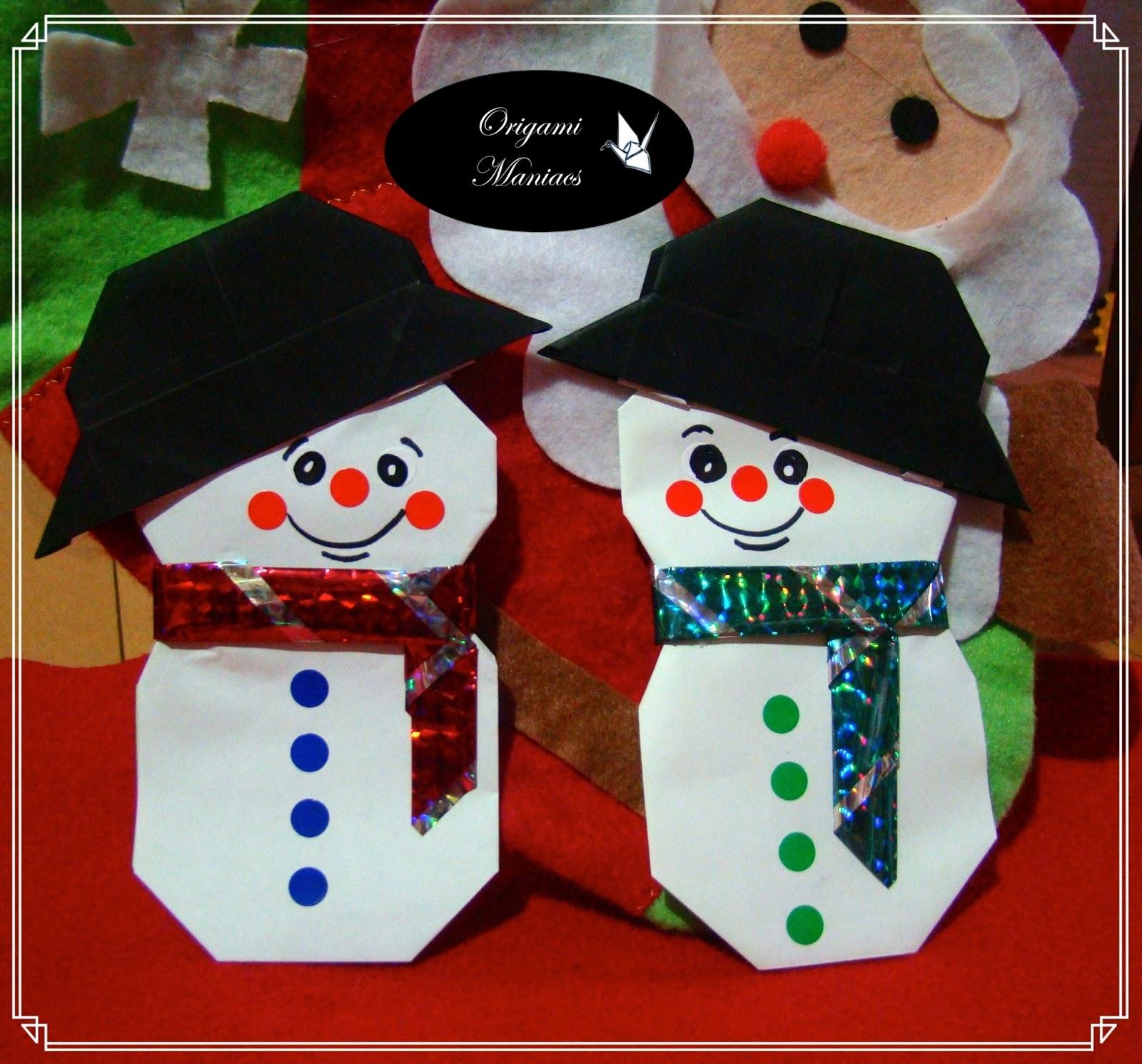 origami maniacs origami snowman hombre de nieve