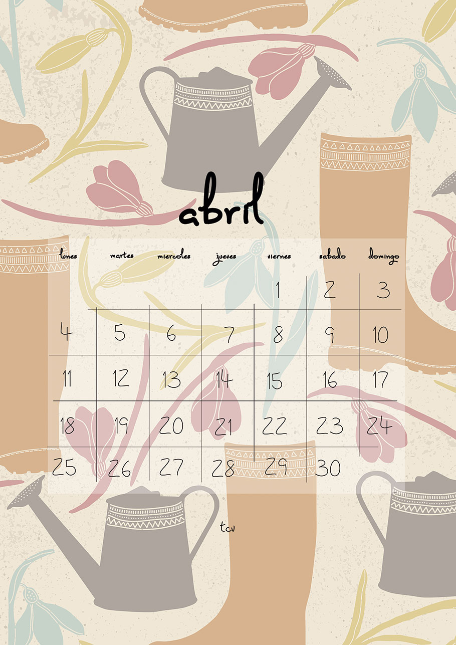 Calendario imprimible de abril