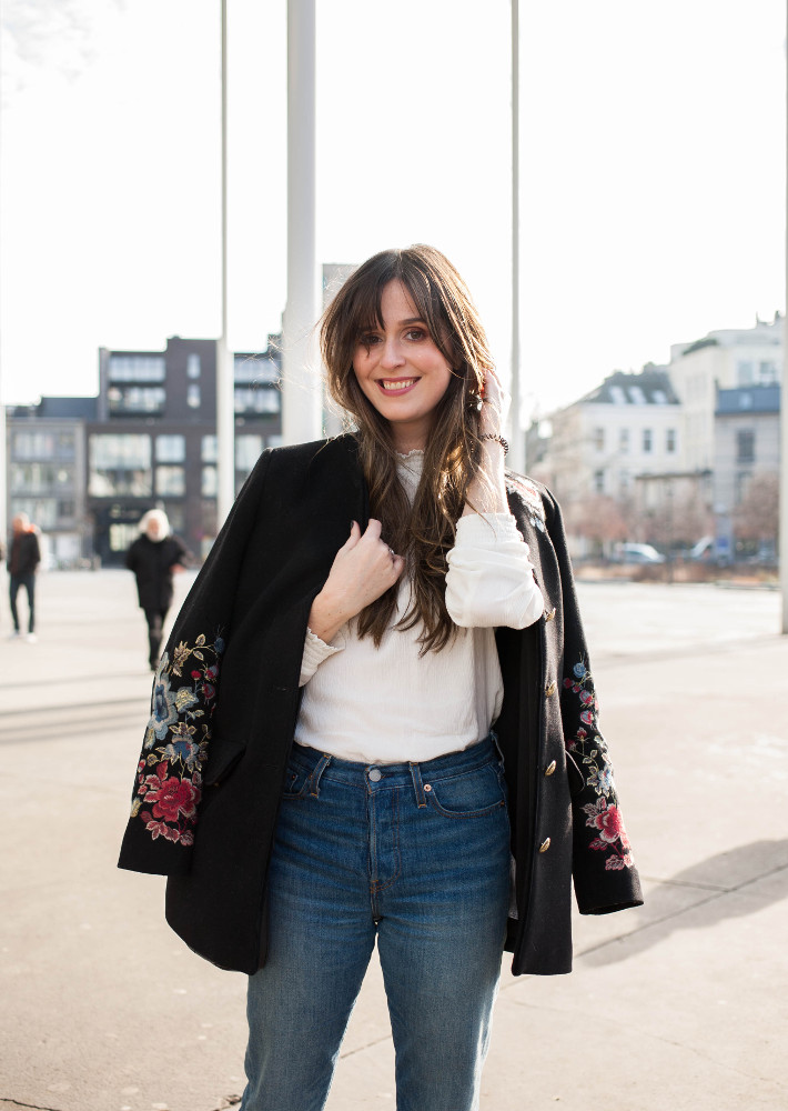 floral embroidery coat, Levi's wedgie jeans