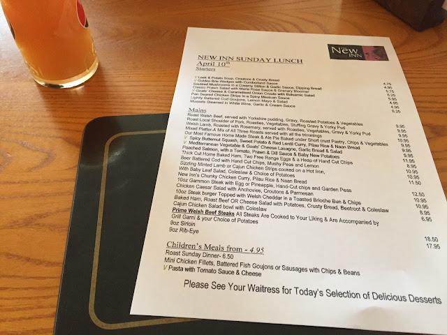 the new inn Dyserth pub menu