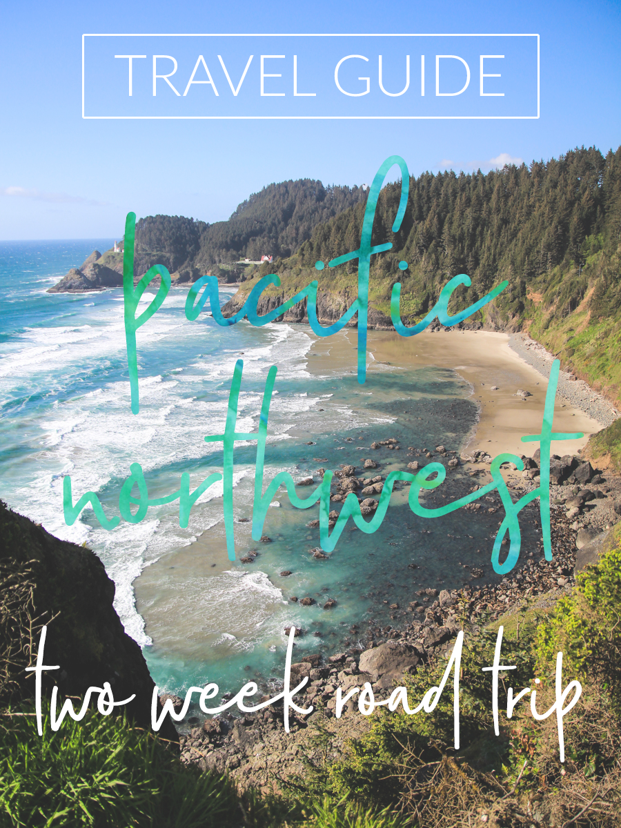 a detailed itinerary for a two week road trip through America's Pacific Northwest -- complete with misty mountains and mossy forests full of waterfalls, lighthouses on rocky beaches, ferry boats sailing through whale pods, tall pine trees and bright blue oceans, and cities full of hipsters drinking microbrews and hand drip coffees.