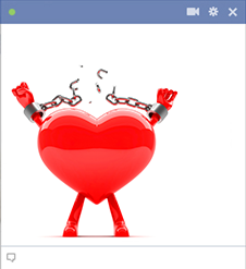 Facebook heart releasing from chains