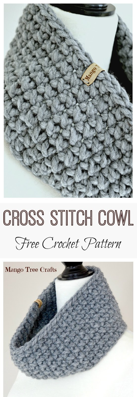 Cross Stitch Cowl Crochet Pattern