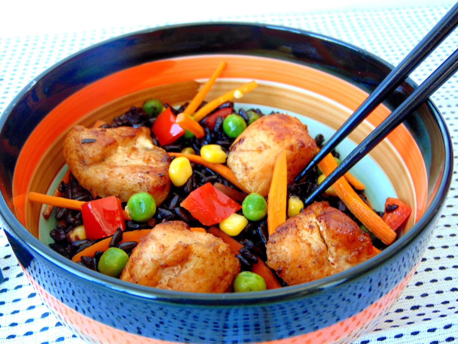 Piept-de-pui-cu-orez-negru-si-legume-3