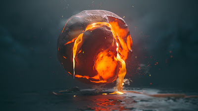 Bola de fuego derretida con modo dark