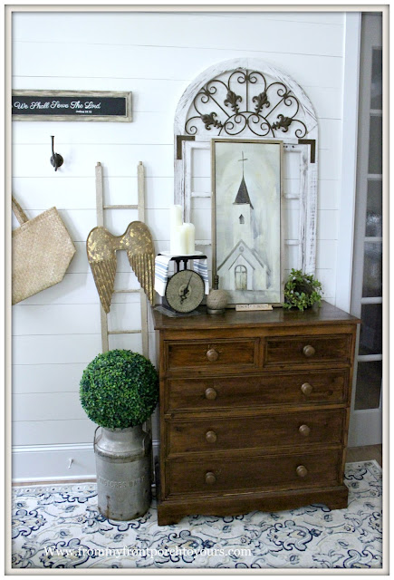 French Country Farmhouse Foyer-DIY-Shiplap-Makeover-Vintage Dresser-From My Front Porch To Yours