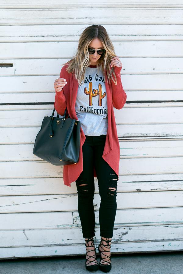 fall outfit long cardigan parlor girl