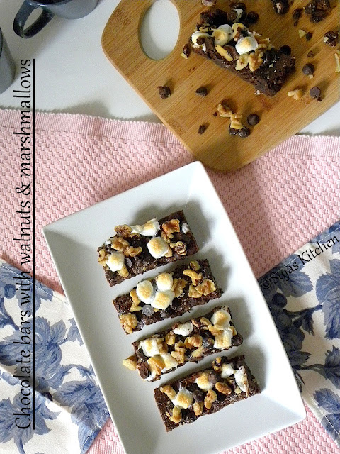 How to bake Chocolate Bars with Walnut & Marshmallow Topping