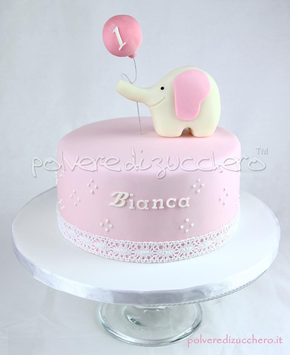 torta elefantino 1 compleanno bimba pasta di zucchero cake design toni pastello elefante palloncino polvere di zucchero