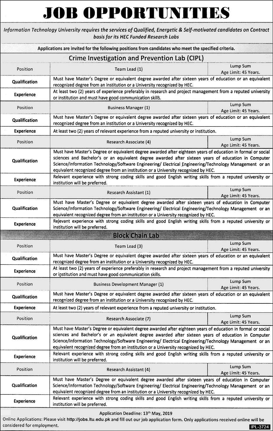Jobs in Crime Investigation & Prevention Lab (CIPL) 25 April 2019
