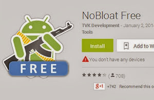 NoBloat Free app removing Android app