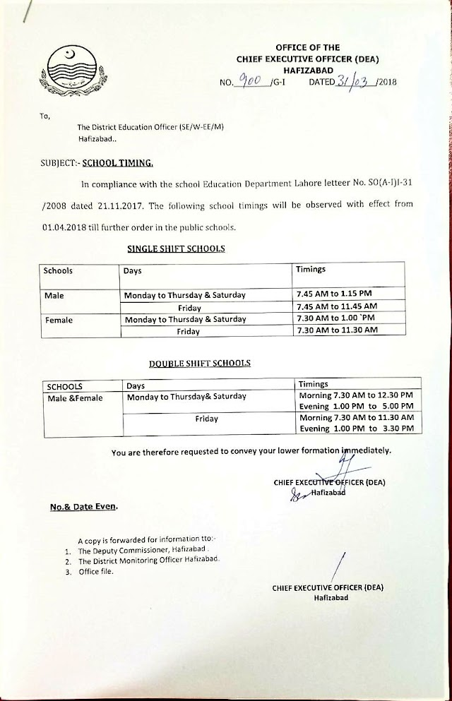 NOTIFICATION OF SCHOOL TIMINGS OF DISTRICT HAFIZABAD