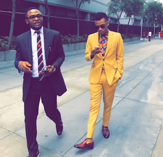 Ubi Franklin shades Iyanya as he attends BET awards with Tekno (Photos)