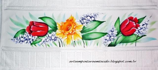 jogo de banho com tulipas