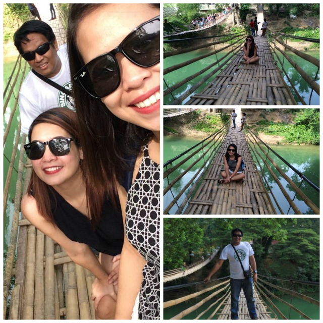 At Bamboo Hanging Bridge in Bohol Philippines
