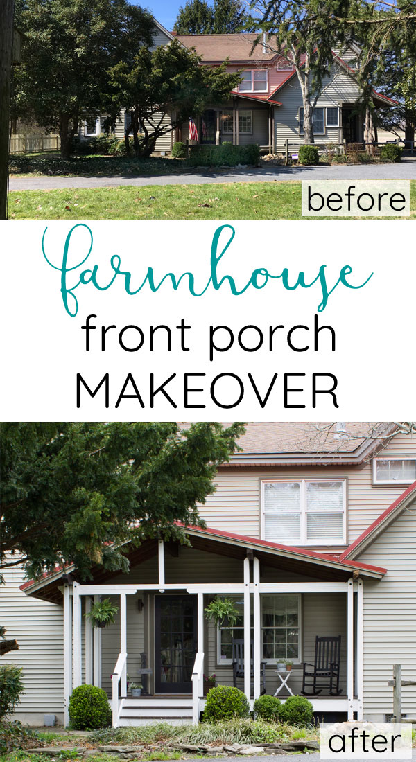 Before and after of freshly stained front porch makeover