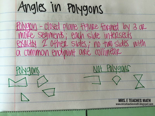 Angles in Convex Polygons Interactive Notebook Page