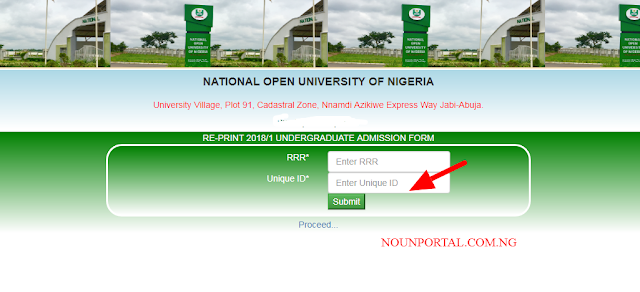 Reprint NOUN Undergraduate Application form